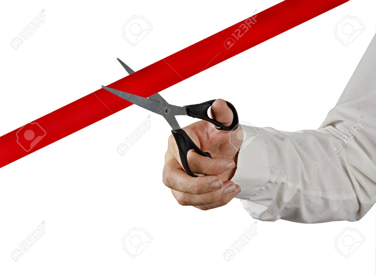 Cutting red tape Stock Photo - 14625540