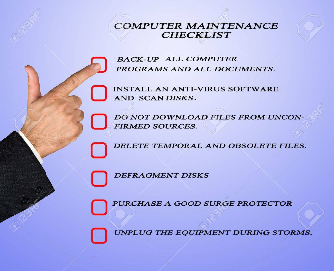 Checklist for computer maintenance Stock Photo - 14625766