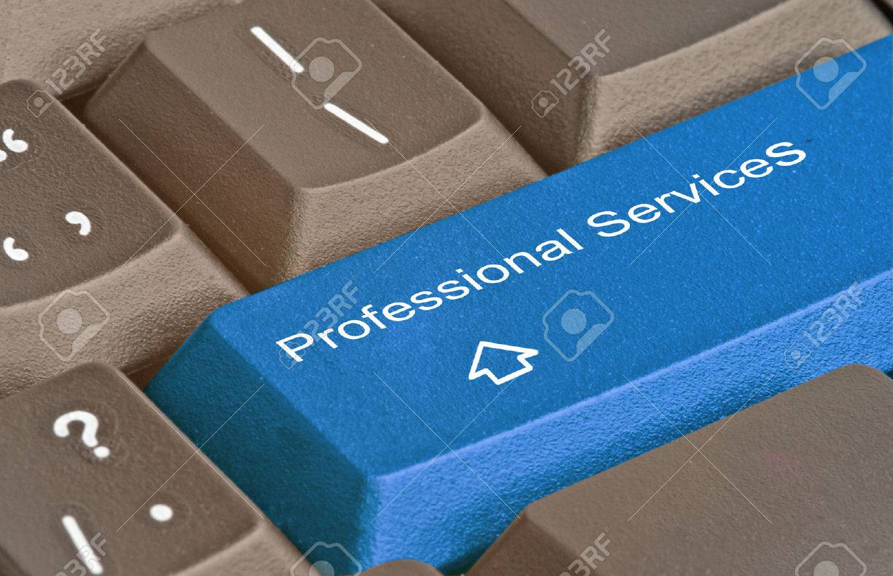 Keyboard with key for  professional services Stock Photo - 28161637