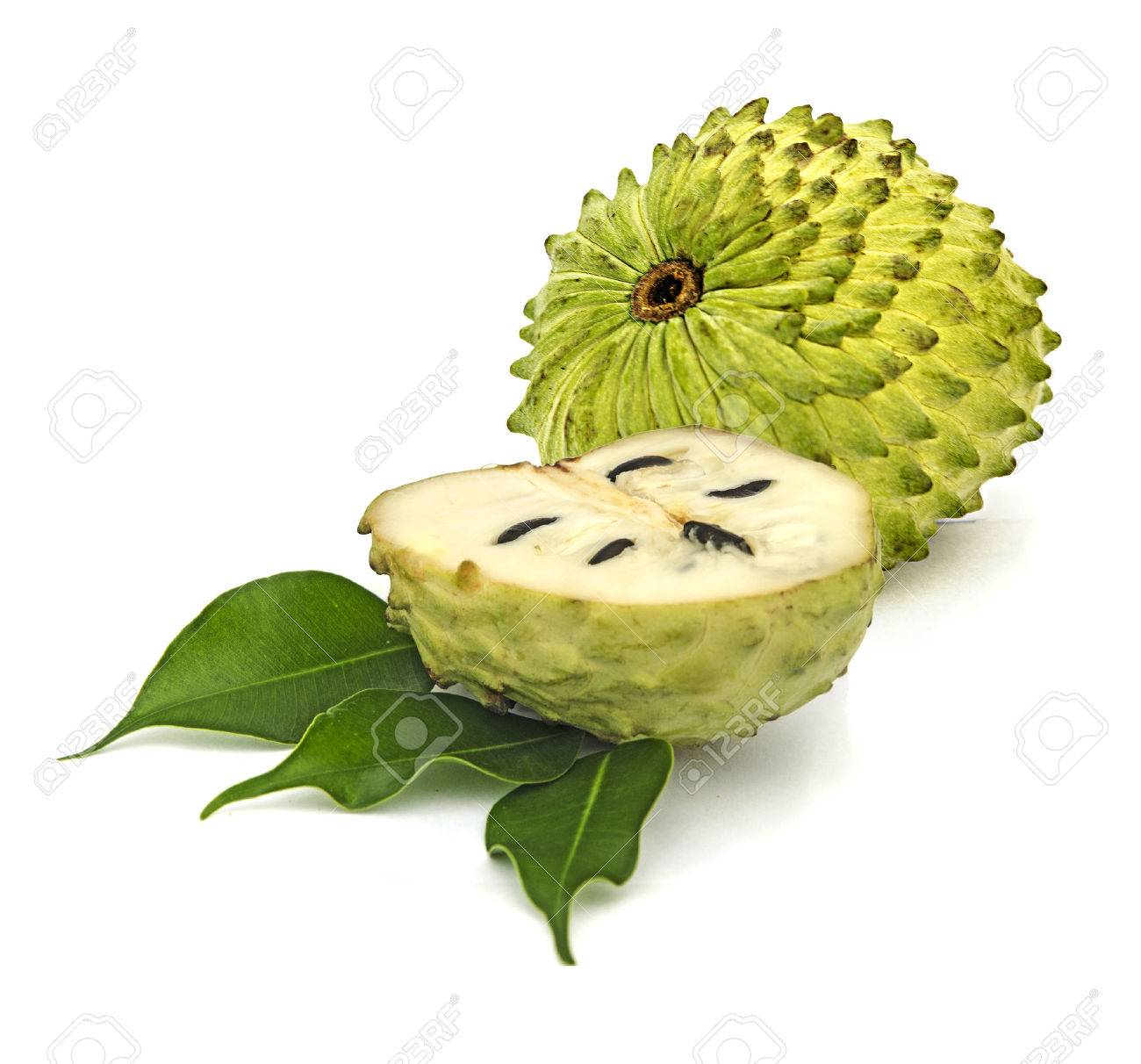Soursop sections isolated on white background Stock Photo - 32950288