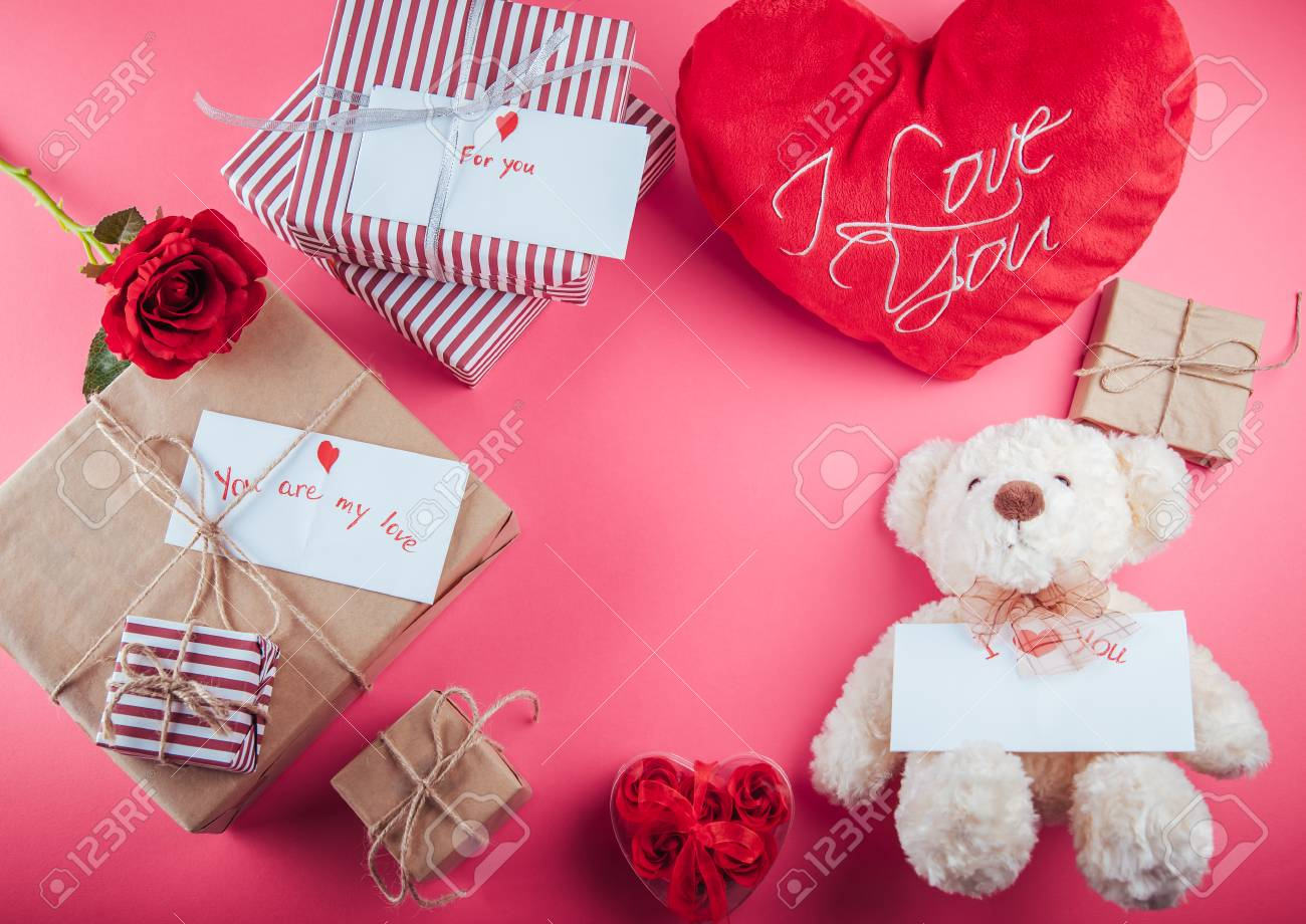 Decoration Teddy Bear And A Gift Box Valentine S Day Teddy Stock