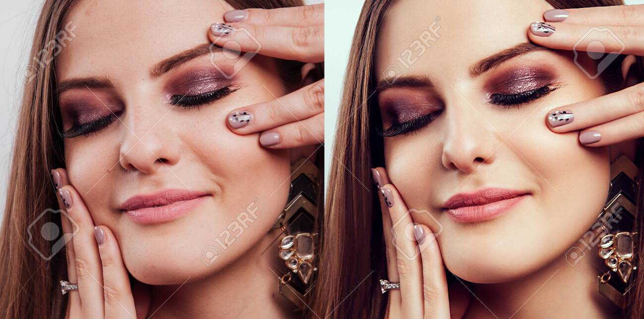 Before and after retouching in editor  Side by side beauty portraits