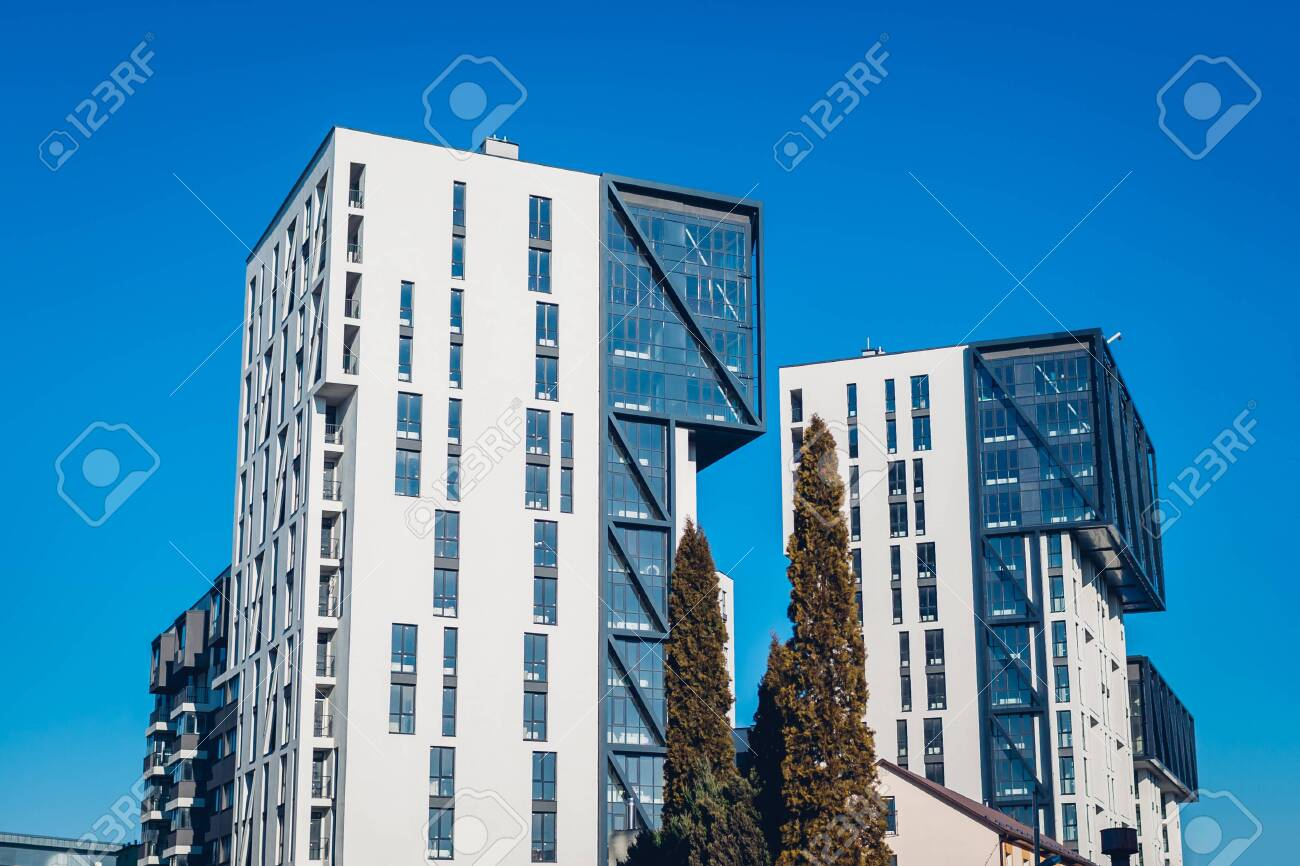 New Multistorey Office Residential Buildings Two Modern Twin Stock Photo Picture And Royalty Free Image Image 138666962