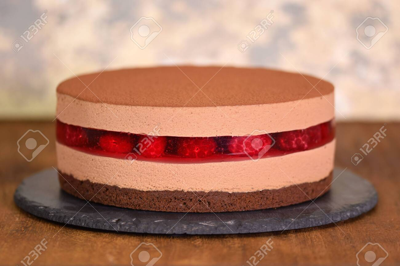 Miraculous Delicious Chocolate Mousse Cake With Raspberries Jelly Stock Birthday Cards Printable Giouspongecafe Filternl