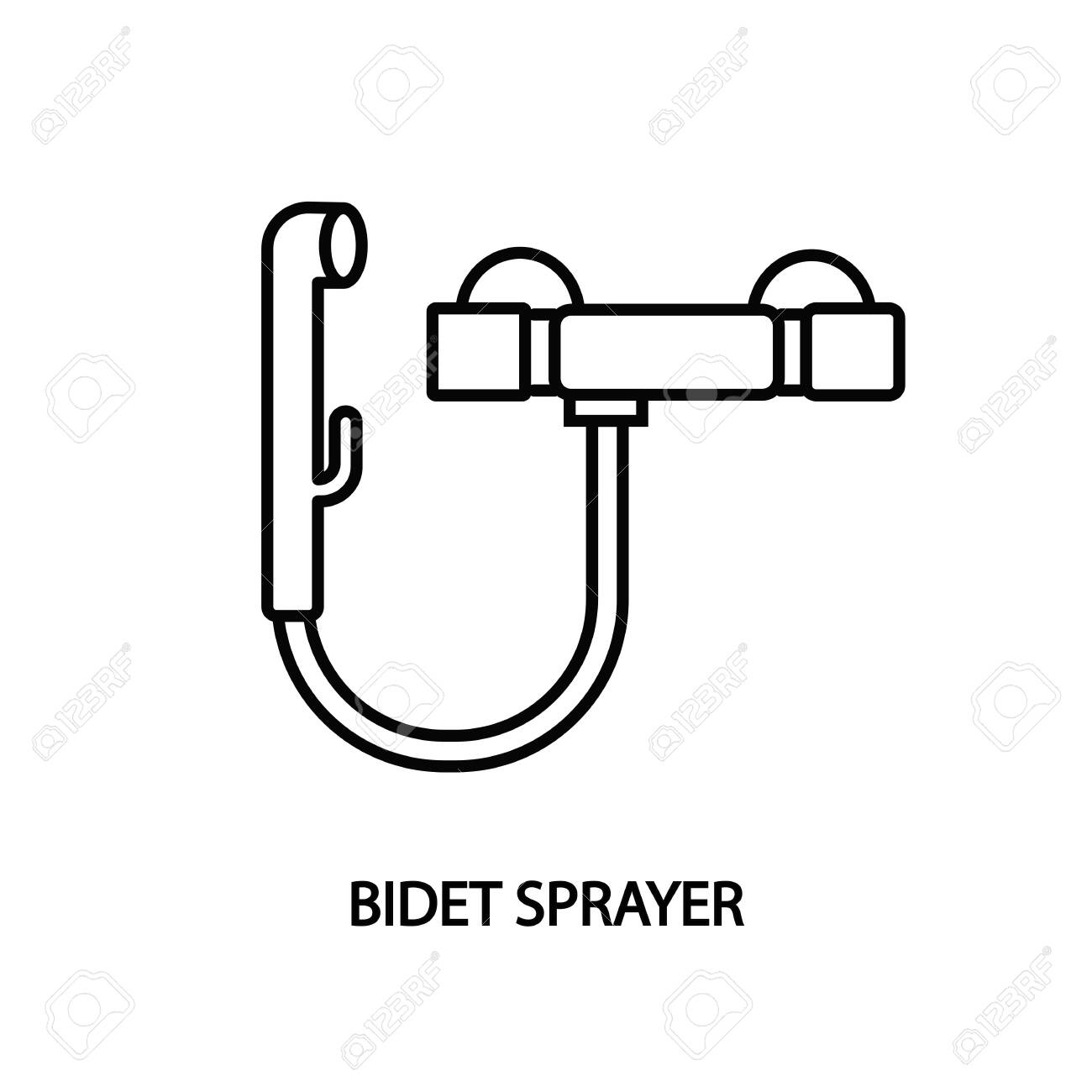 Bidet Sprayer Line Icon Vector Hygienic Shower Royalty Free Cliparts Vectors And Stock Illustration Image 140533666