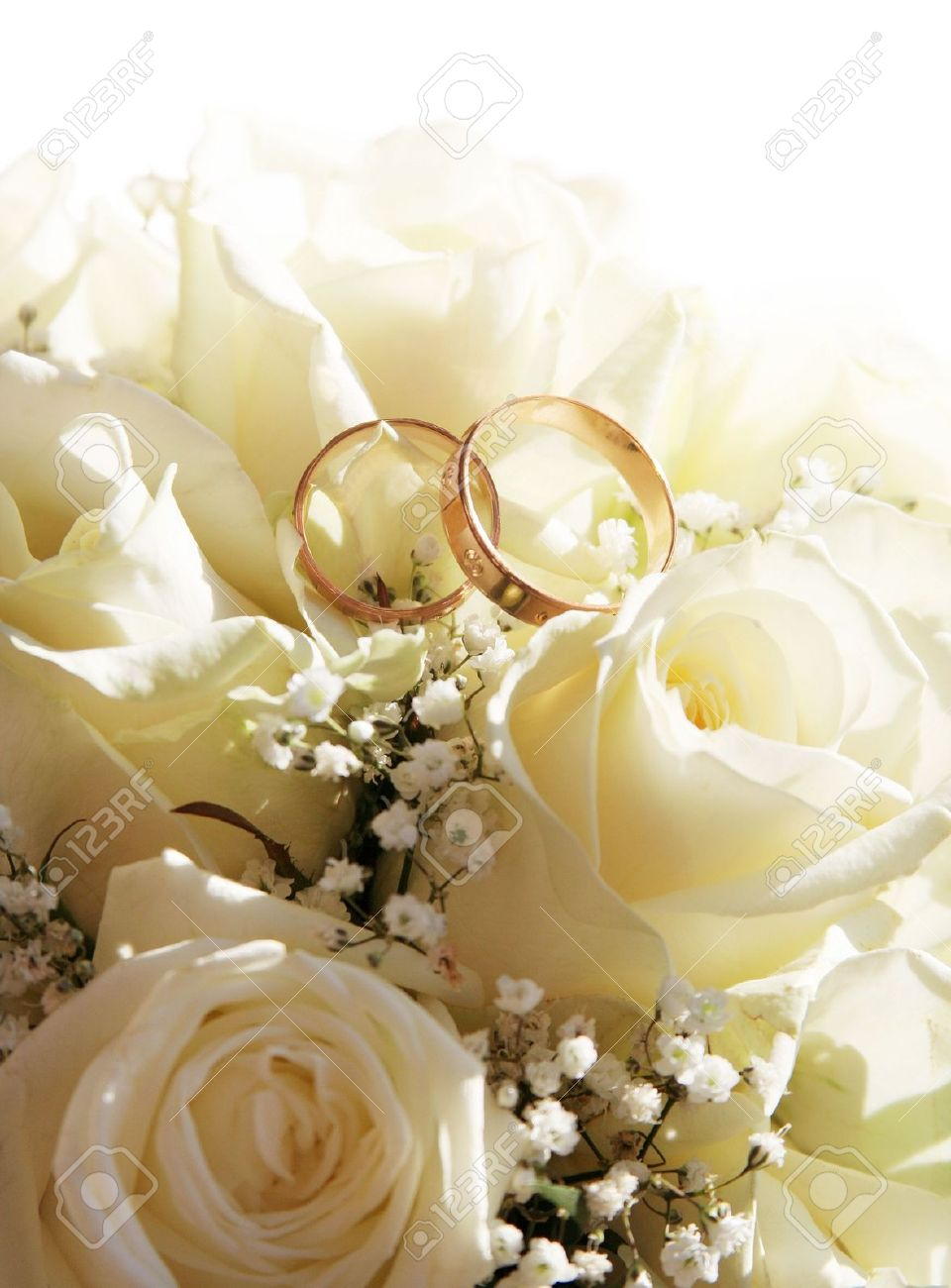 Wedding Rings And Roses Can Use As Background Stock Photo