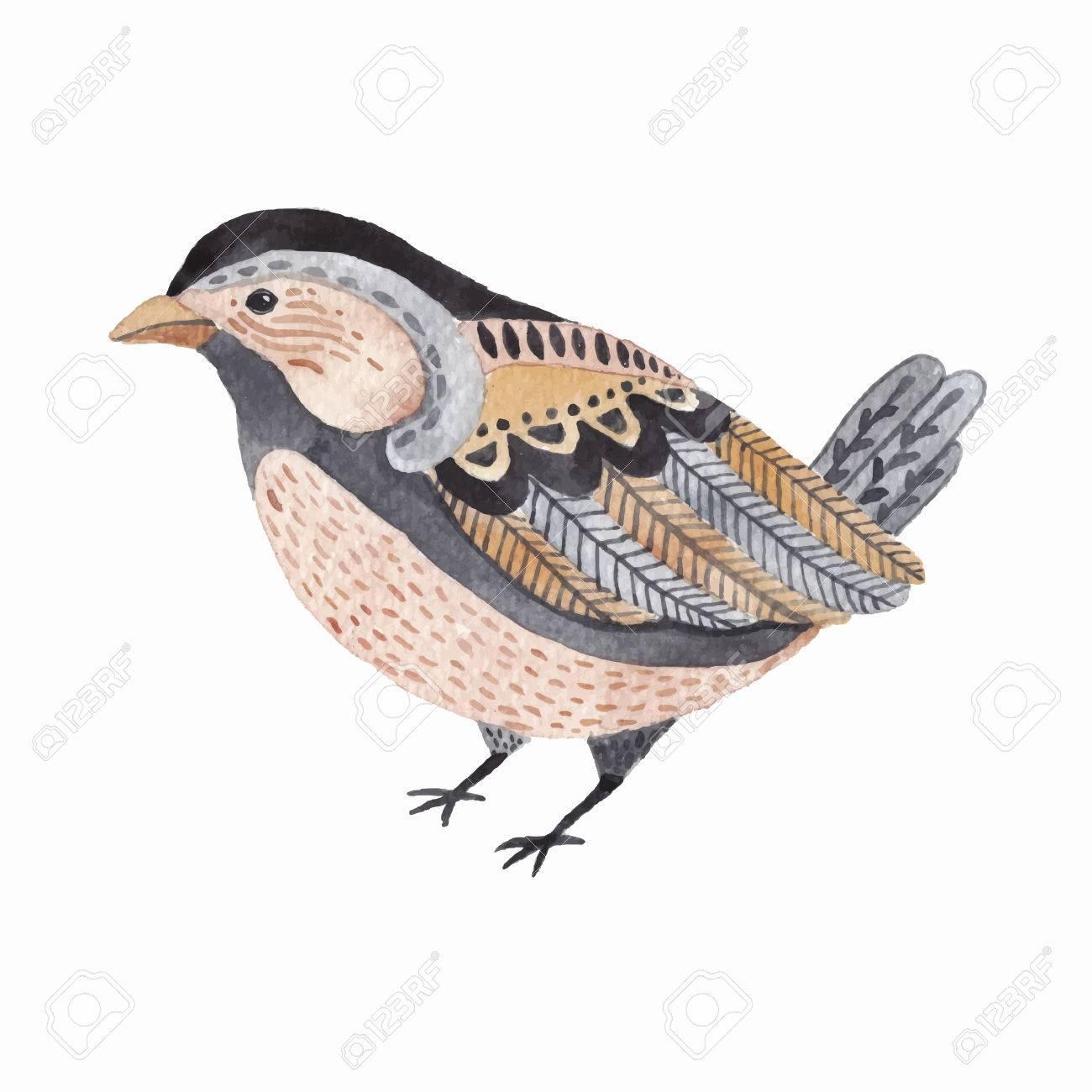 Watercolor Cute Little Bird Hand Drawn Watercolour Illustration