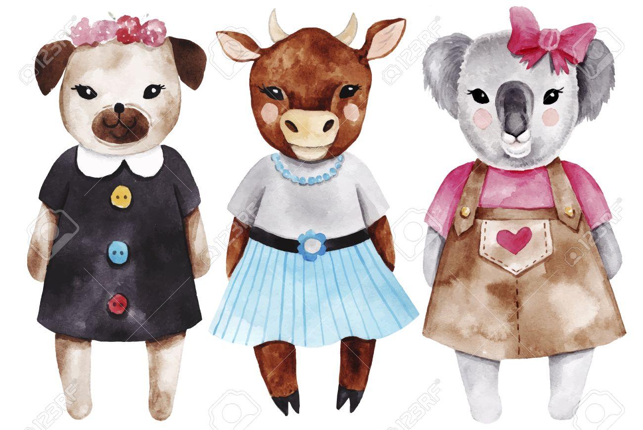 動物女の子を設定します。水彩ファッションかわいいイラスト