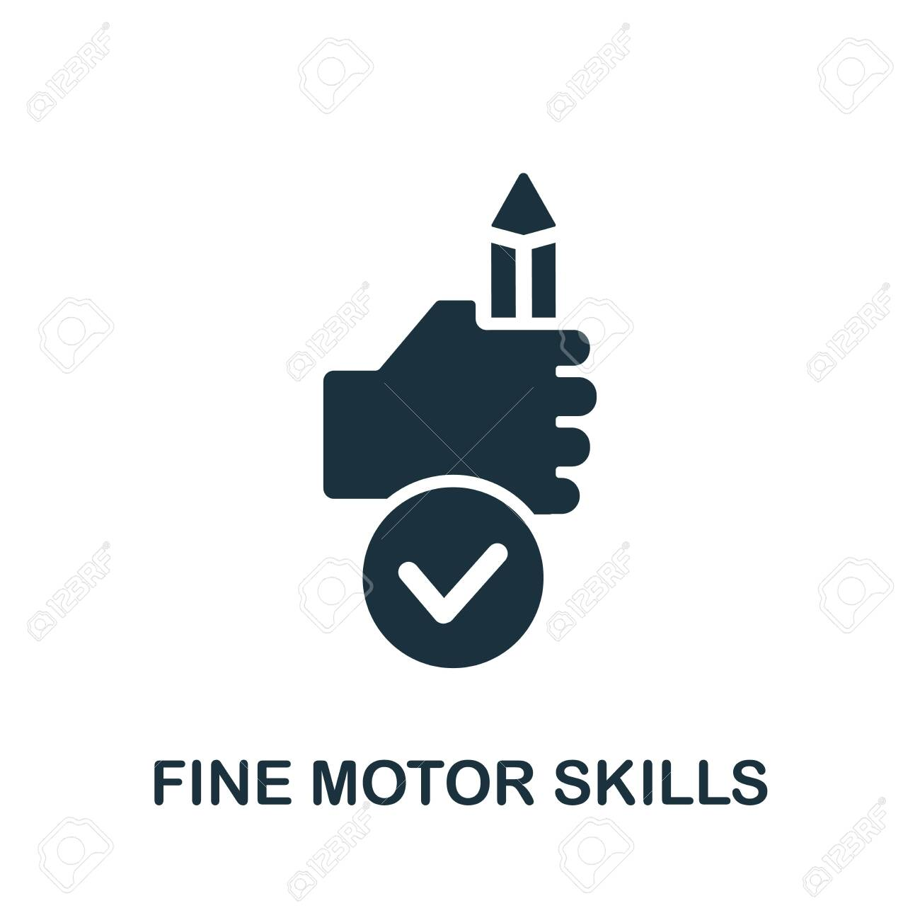 Fine Motor Skills icon. Simple illustration from child development collection. Monochrome Fine Motor Skills icon for web design, templates and infographics. - 149489571