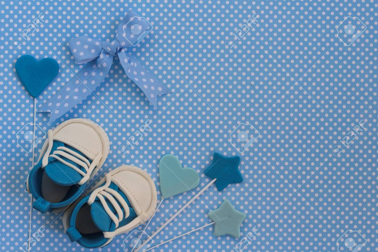 Baby Boy Blue Card Newborn Background Baby Shower Invitation Stock Photo Picture And Royalty Free Image Image 91341856