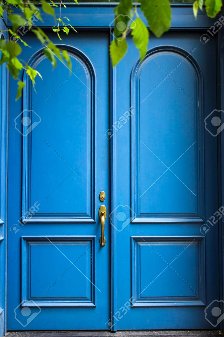 Blue Painted Antique Style Double Doors Are Closed Secret Is
