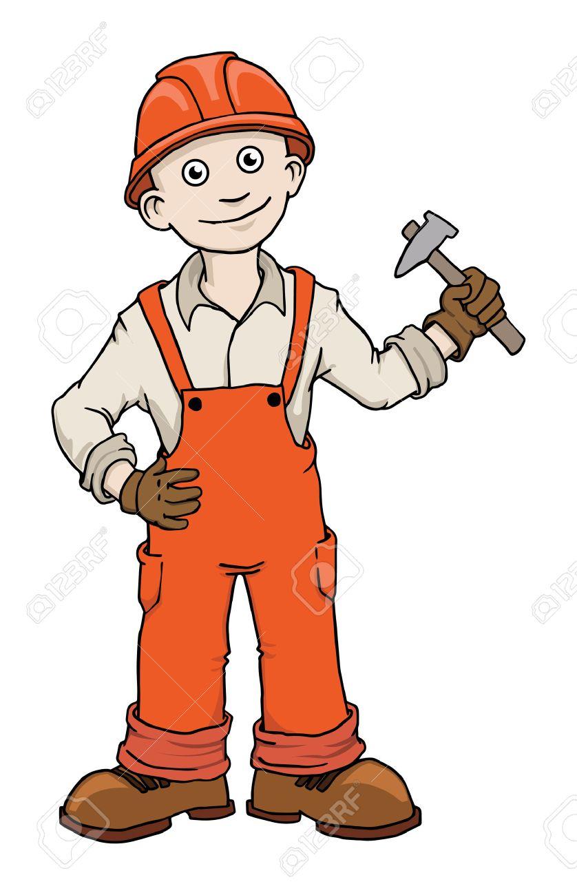 Bauarbeiter clipart schwarz weiß  Nette Karikatur-Bauarbeiter Werker Lizenzfrei Nutzbare ...