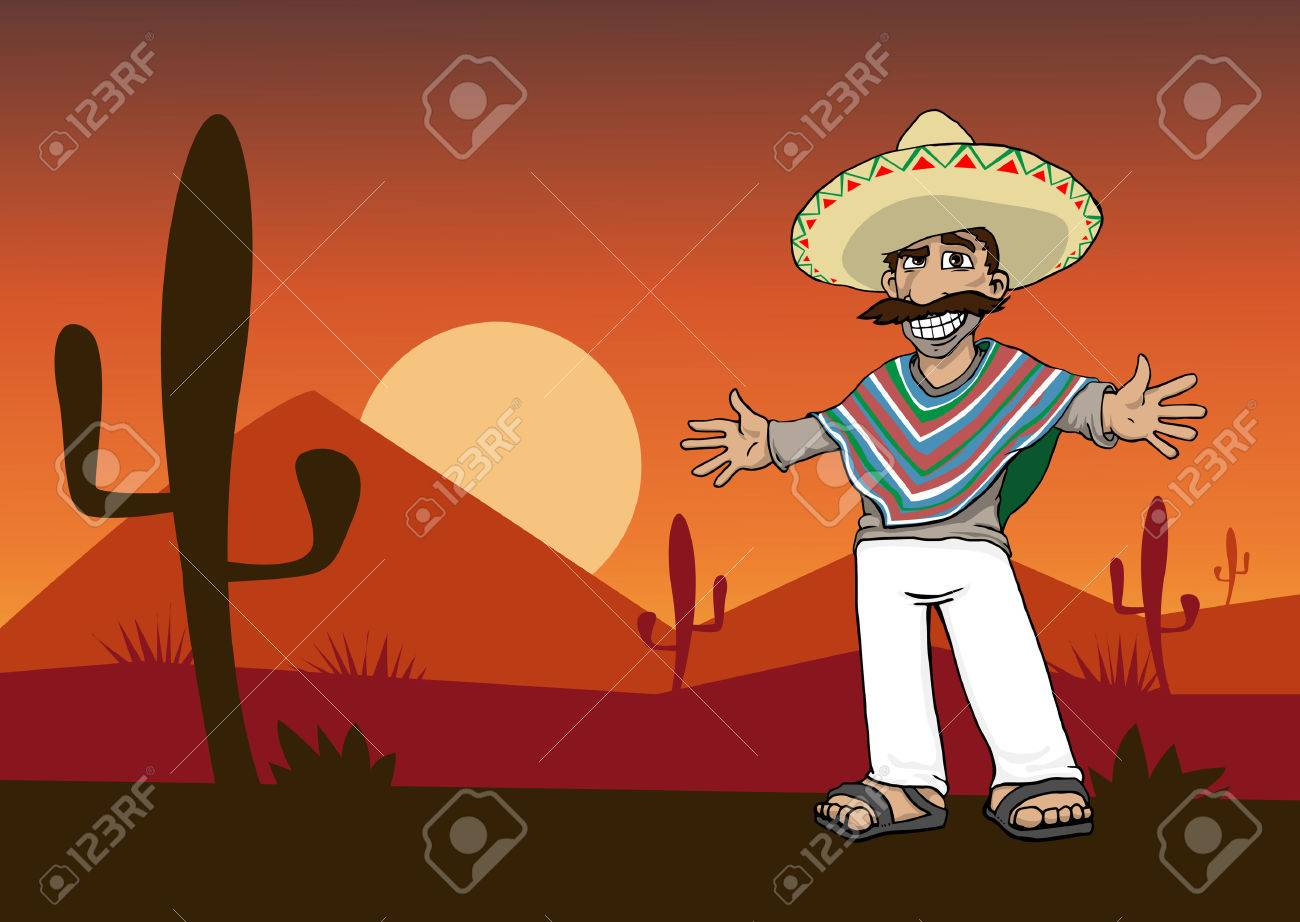 Mexican Cartoon Character standing in the desert at sunset Foto de archivo - 25439108