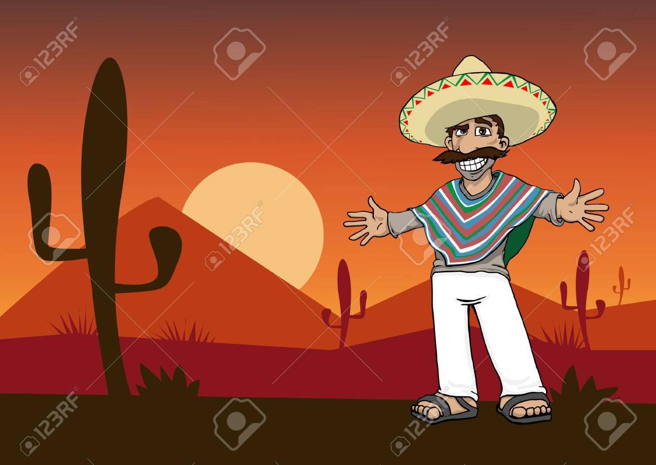 Personaje de dibujos animados mexicana de pie en el desierto al atardecer Foto de archivo - 25439108