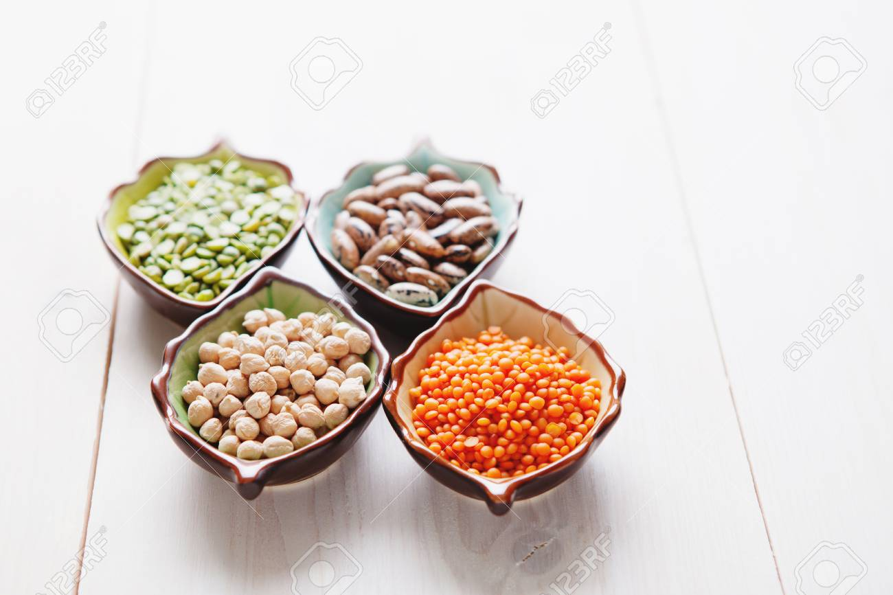 Healthy pulses products chick-pea, lentil, beans and peas