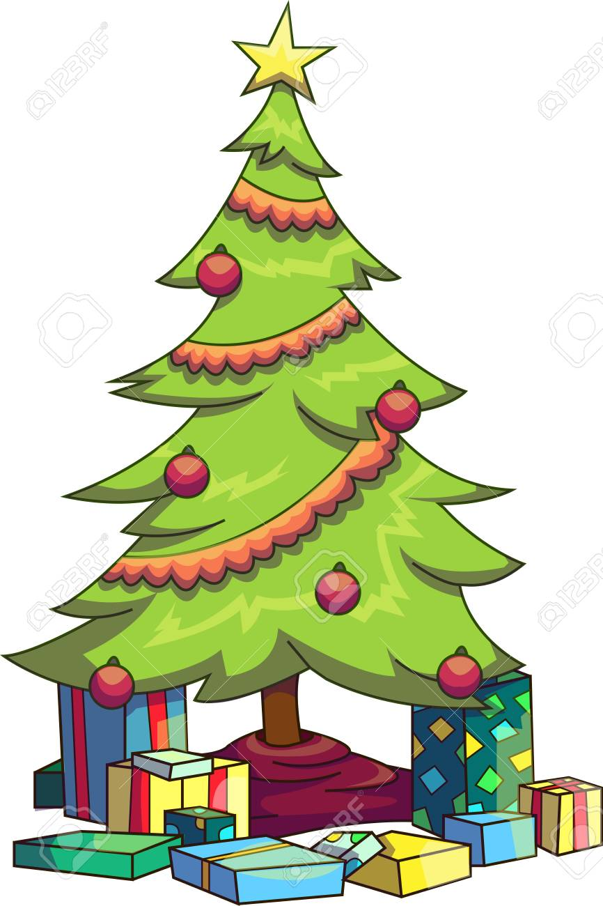 Vector Illustration Of A Christmas Tree With Various Presents