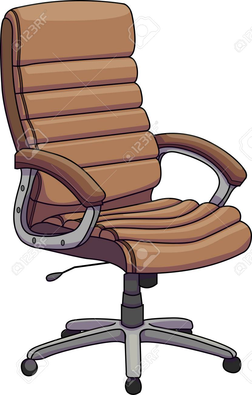 Vector Illustration Of A Brown Leather Office Chair Swivel Chair