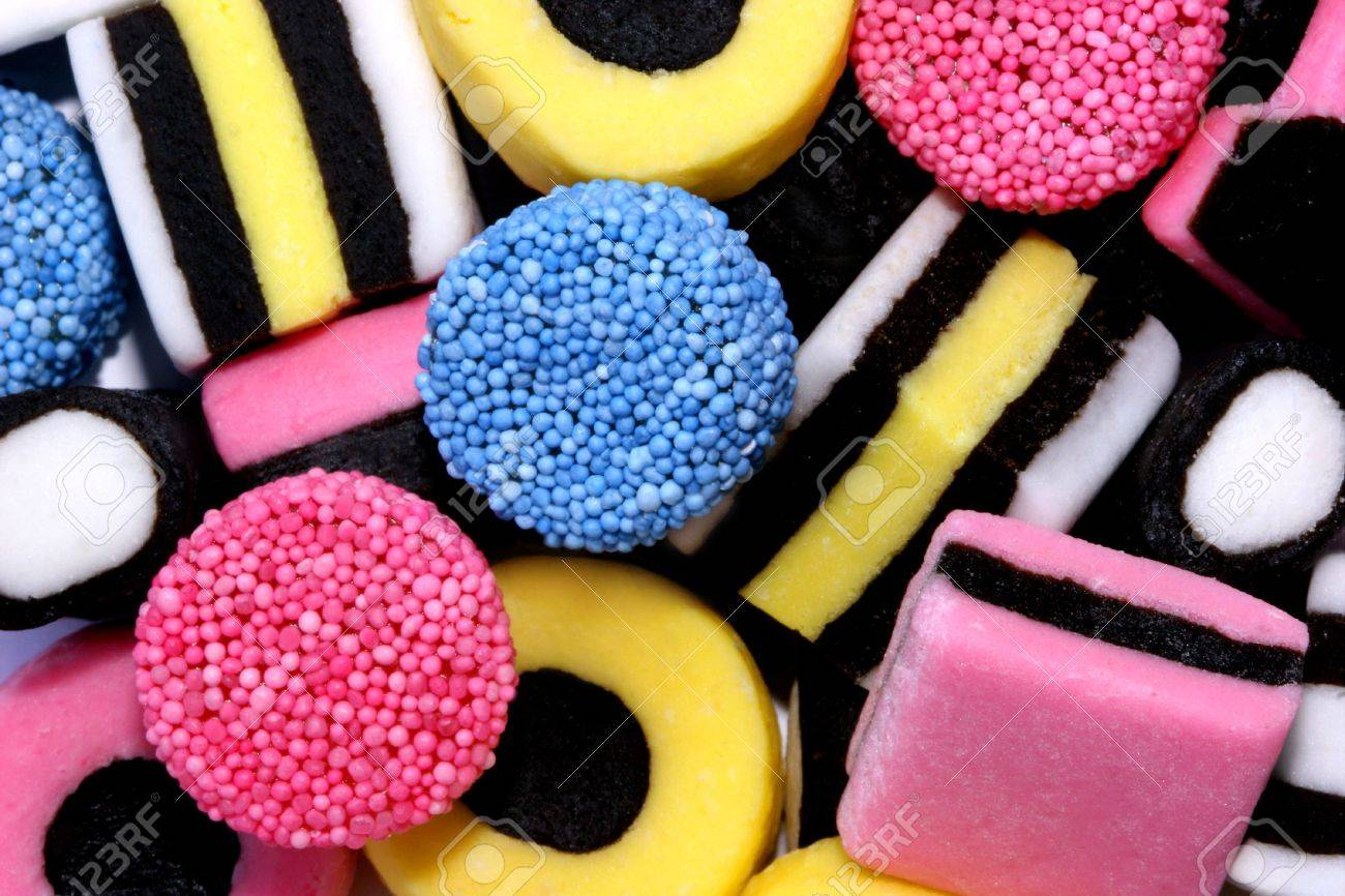 A close up of licorice allsorts sweets. Stock Photo - 302075