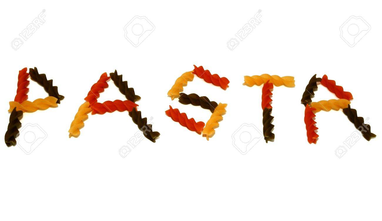 Colored pasta spirals, spelling the word pasta on a white background. Stock Photo - 333350