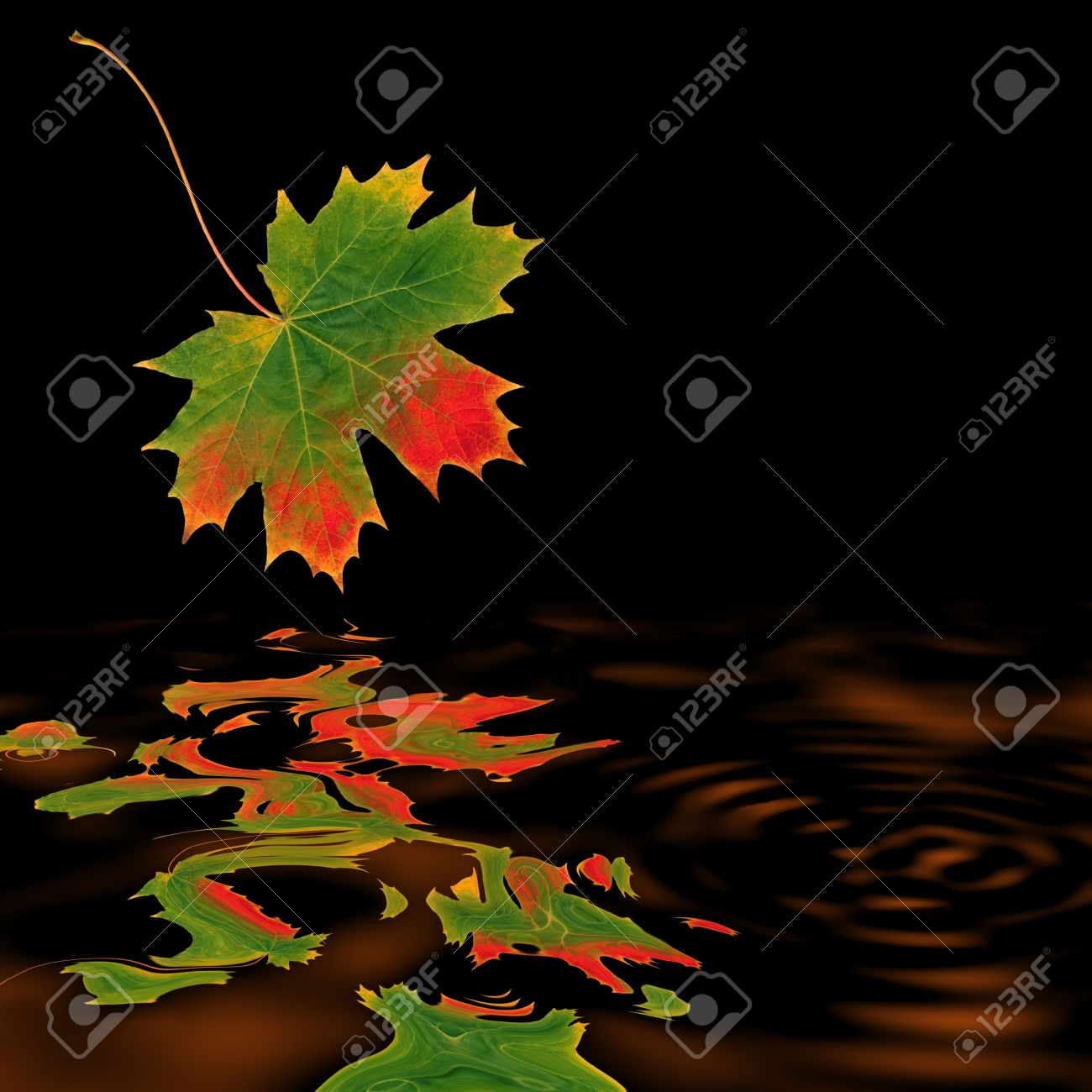 Abstract of a maple leaf in autumn with reflecton over burnished copper colored rippled water and set against a black background. Stock Photo - 2661432