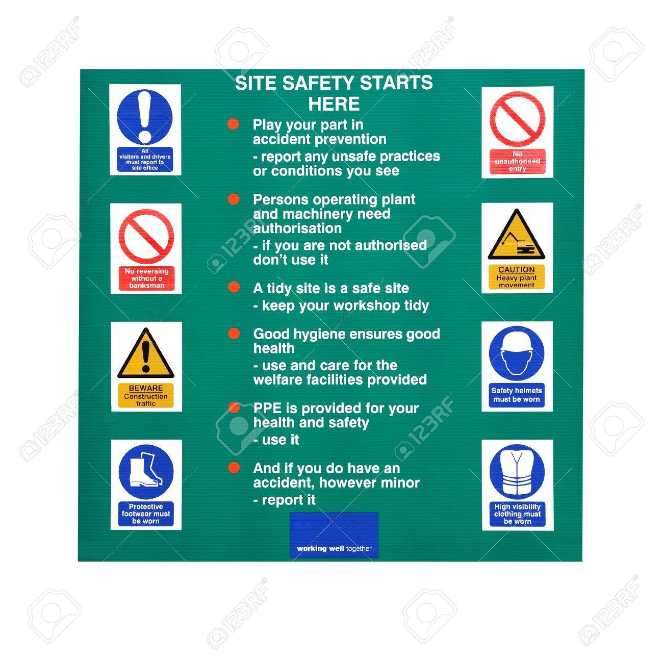 Building construction site sign with safety warnings and symbols building construction site sign with safety warnings and symbols over white stock photo buycottarizona Images