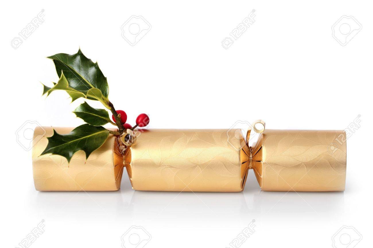 Golden Christmas Cracker Mit Stechpalmen Blatt Zweig Mit Roten ...