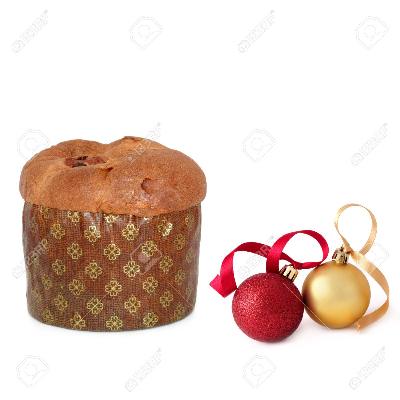 Panetone, Italian Christmas Cake And Red And Gold Baubles, Over ...