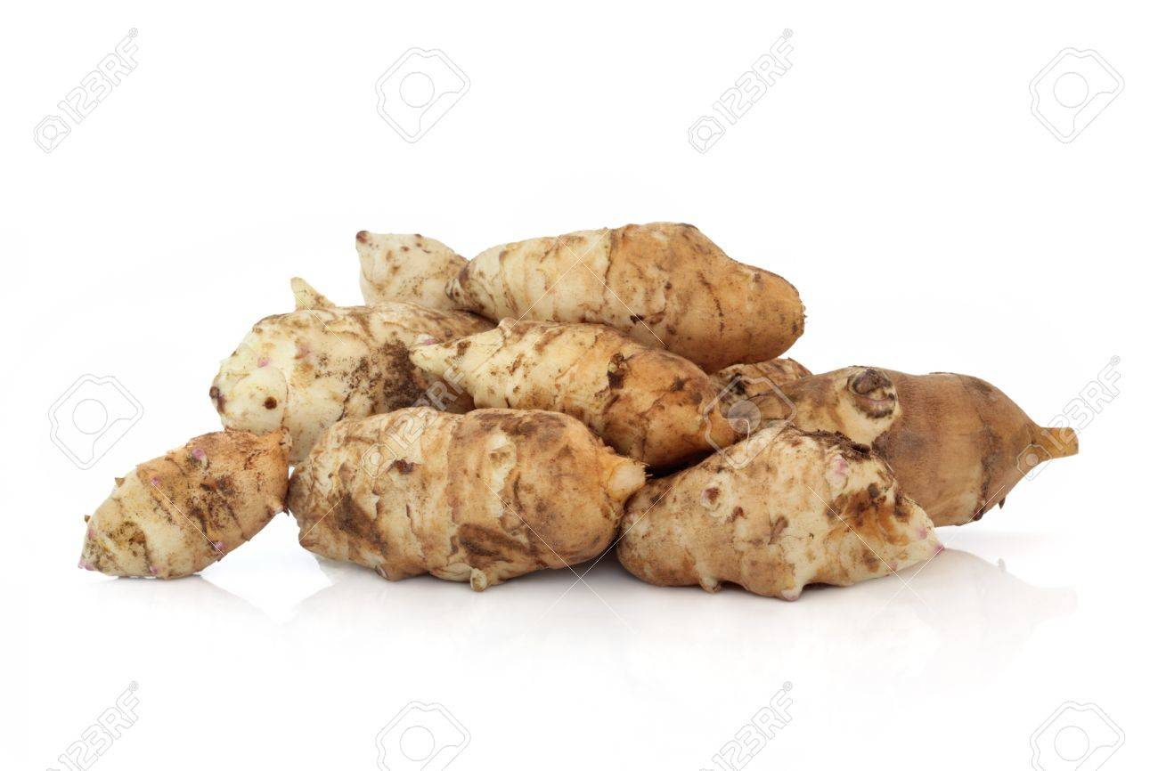 devinez ce que c'est !!!!! 7298916-Jerusalem-artichoke-vegetables-isolated-over-white-background-with-reflection-Helianthis-tuberosus--Stock-Photo