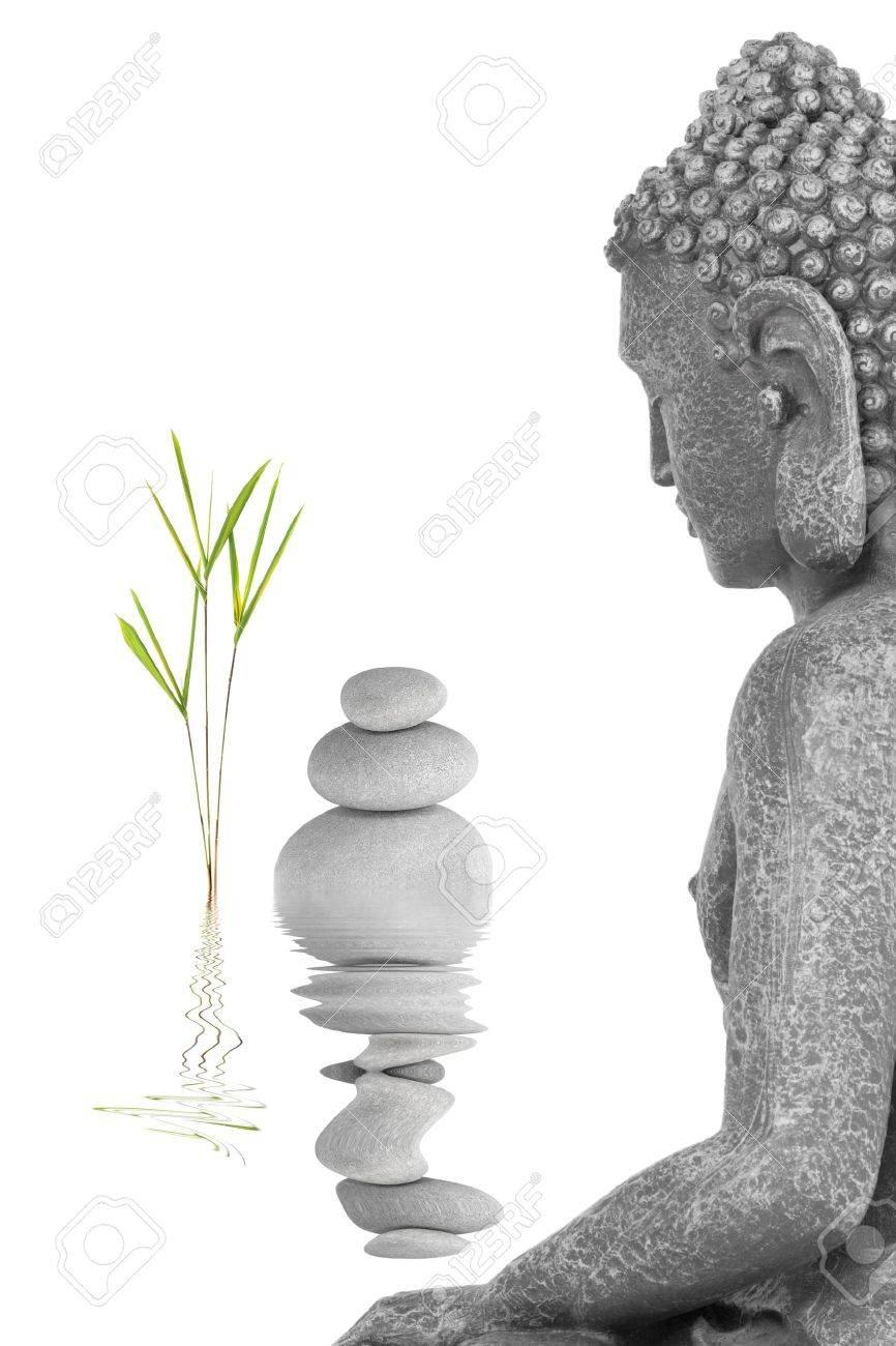 Buddha In Der Meditation Abstrakte, Mit Bambus-Blatt-Gras Und Eine ...