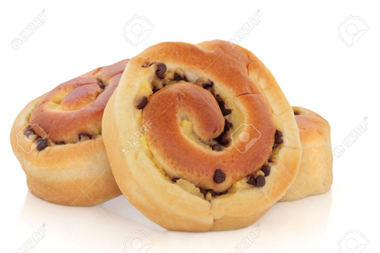 Chocolate Chip Brioche Buns Group Over White Background Stock Photo 8581397