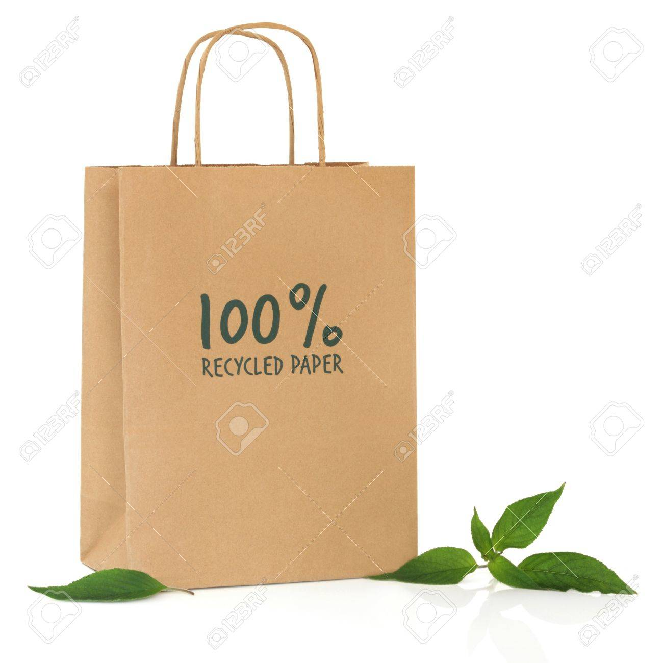 Recycled Brown Paper Shopping Bag With Symbol And Handle And ...