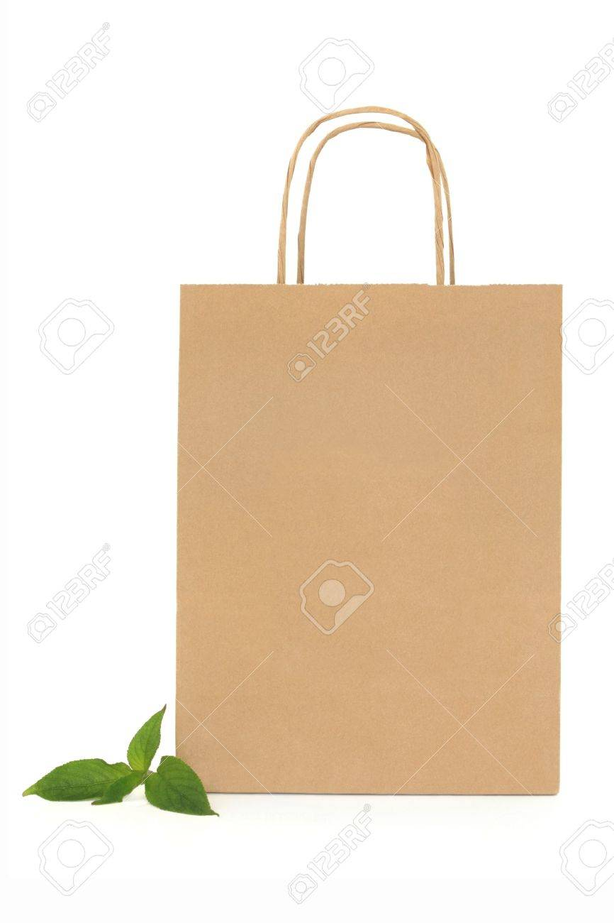 Recycled brown paper shopping bag with handle and green leaf sprigs, over white background. Stock Photo - 8964869