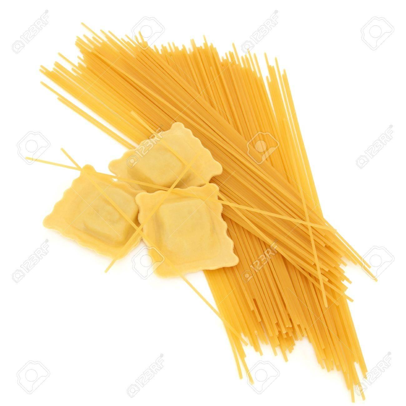 Ravioli pasta with spaghetti isolated over white background. Stock Photo - 10615834