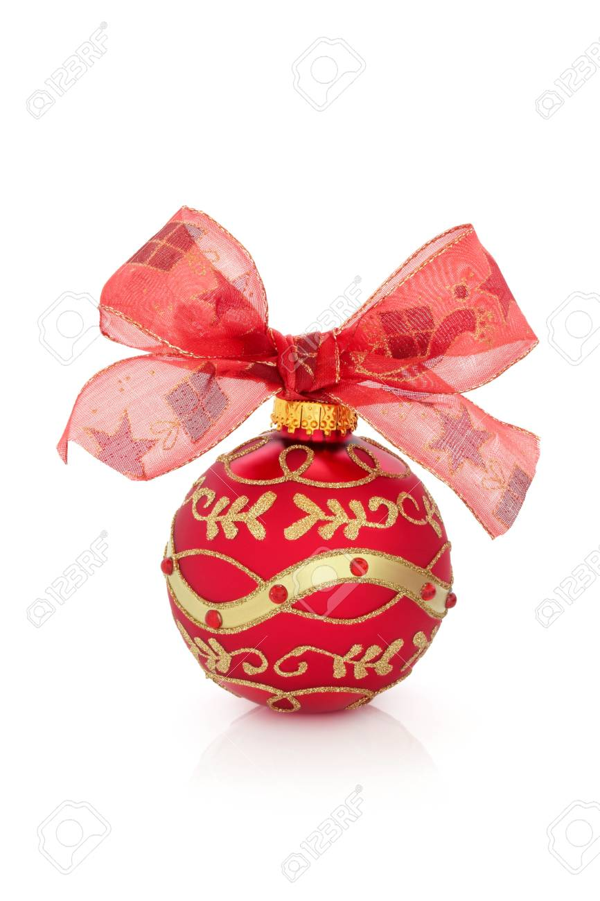 Christmas bauble in red with gold glitter design and ribbon with bow isolated  over white background. Stock Photo - 10679082