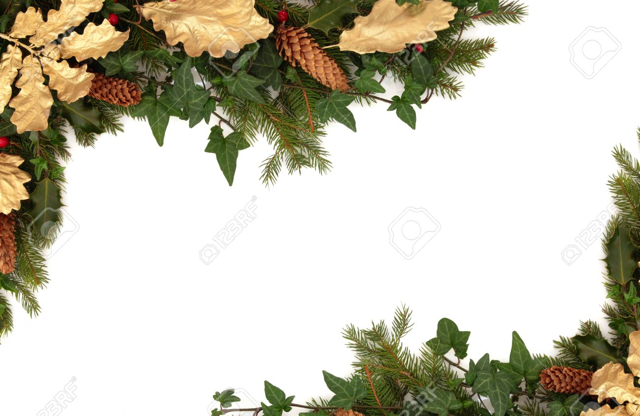 Christmas border of holly, ivy, pine cones, golden oak leaves and blue spruce fir leaf sprig isolated over white background. Stock Photo - 10679086