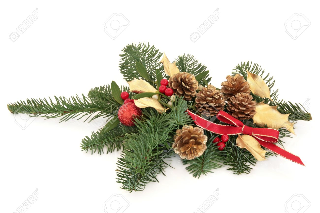 9b1412be14fb ... bauble,and red bow isolated over white background. Christmas decoration  of mistletoe, gold holly and pine cones with blue spruce fir leaf sprig