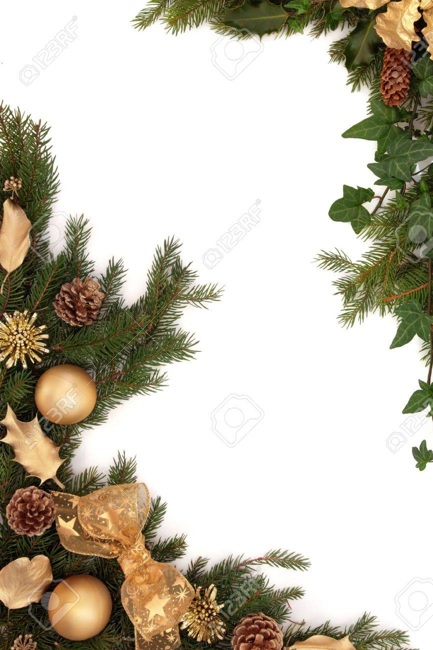 christmas border of gold bauble bow holly and oak leaf decorations stock photo picture and royalty free image image 10914897 christmas border of gold bauble bow holly and oak leaf decorations