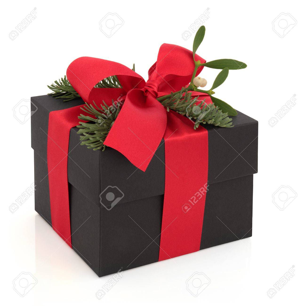 Christmas Gift Box Decorated With Red Satin Ribbon And Bow With ...