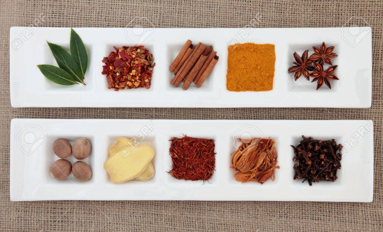 Spice collection of chili flakes, cinnamon, turmeric, star anise,
