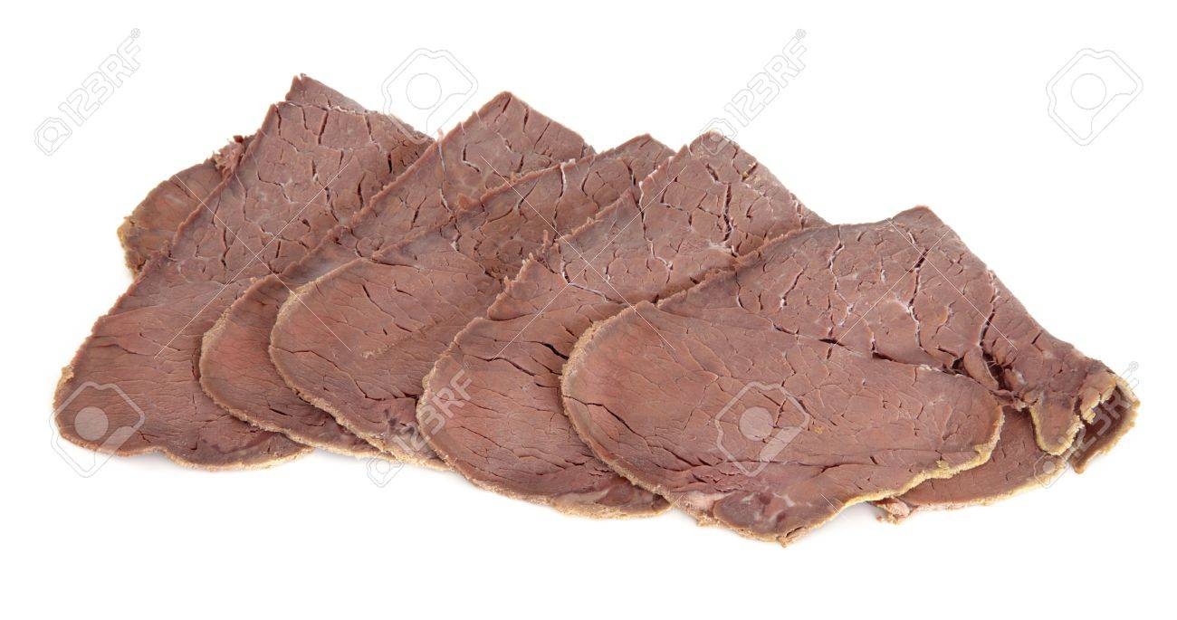 Sliced roast beef package - Cooked Beef Slices Over White Background Aberdeen Angus Variety Stock Photo 15395869