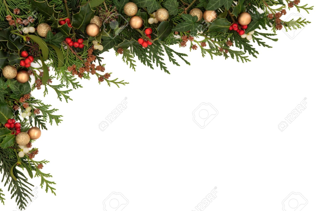 Christmas seasonal  border of holly, ivy, mistletoe, cedar leaf sprigs with pine cones and gold baubles over white background Stock Photo - 15395873