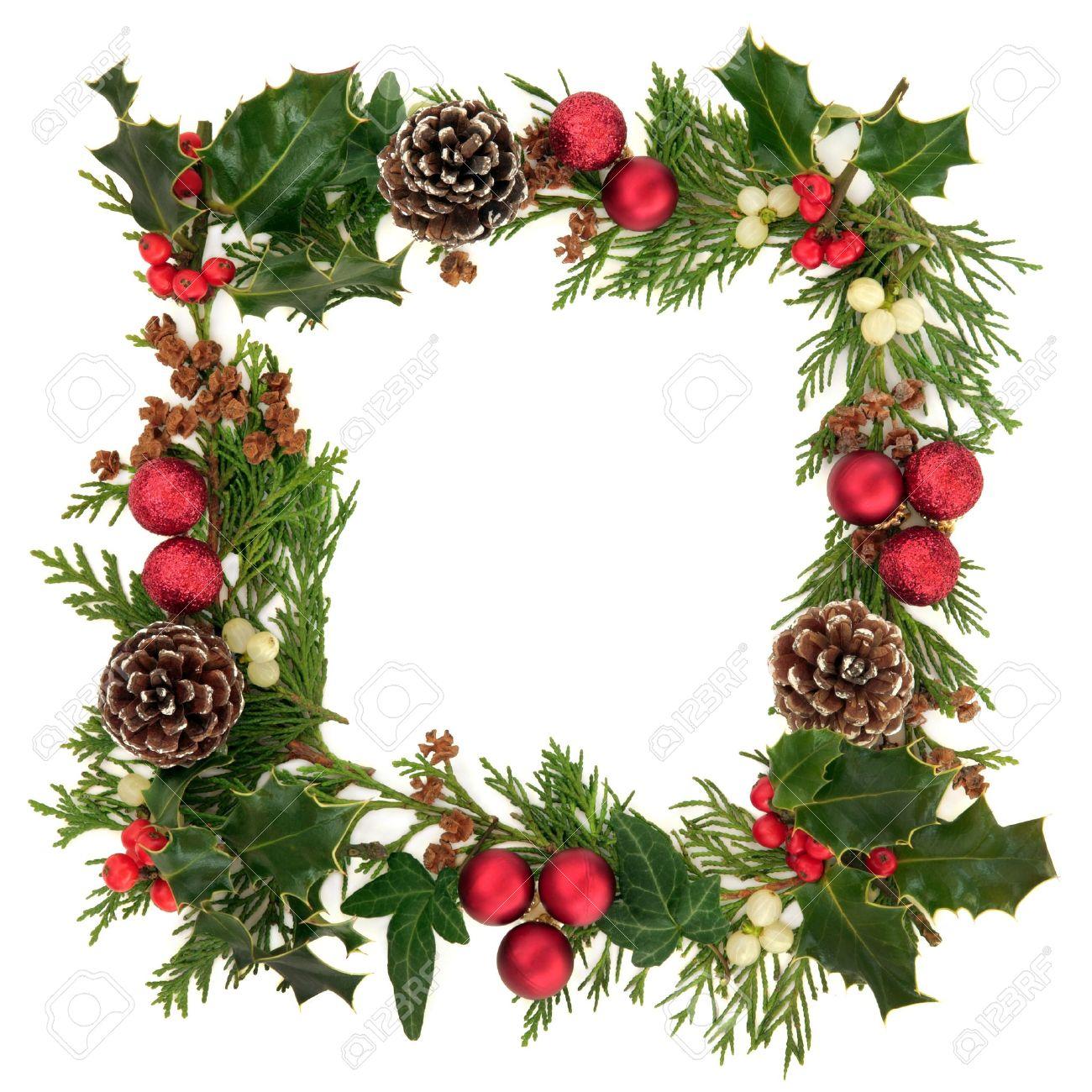 navidad decorativos frontera de acebo hiedra murdago las ramitas de hojas de cedro