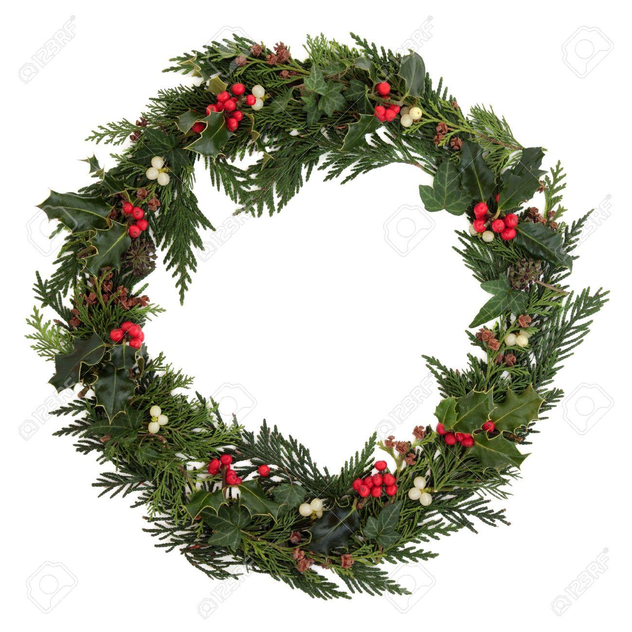 navidad decorativos corona de acebo hiedra murdago las ramitas de cedro y hoja