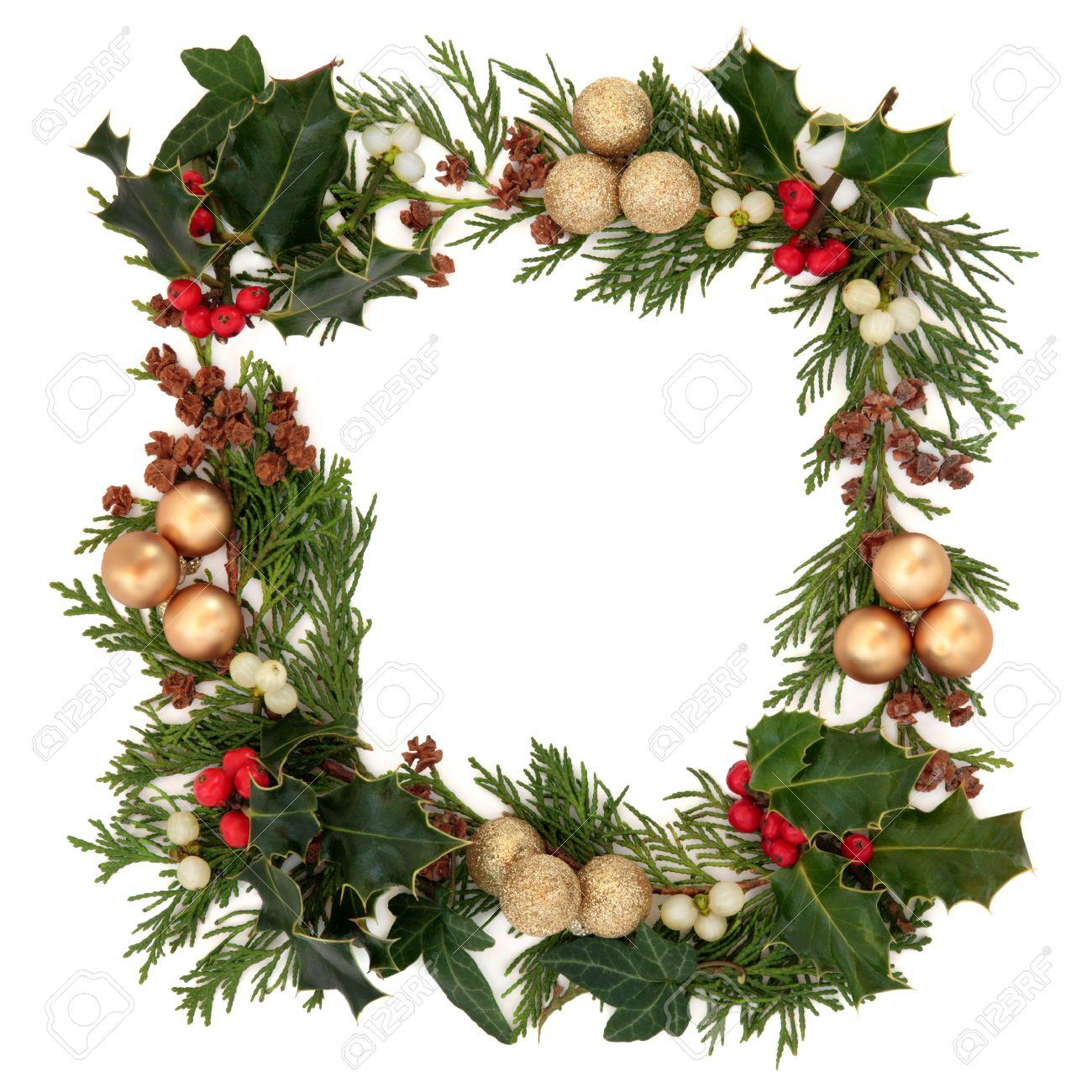Christmas Decorative Border Of Holly, Mistletoe, Ivy, Cedar And ...