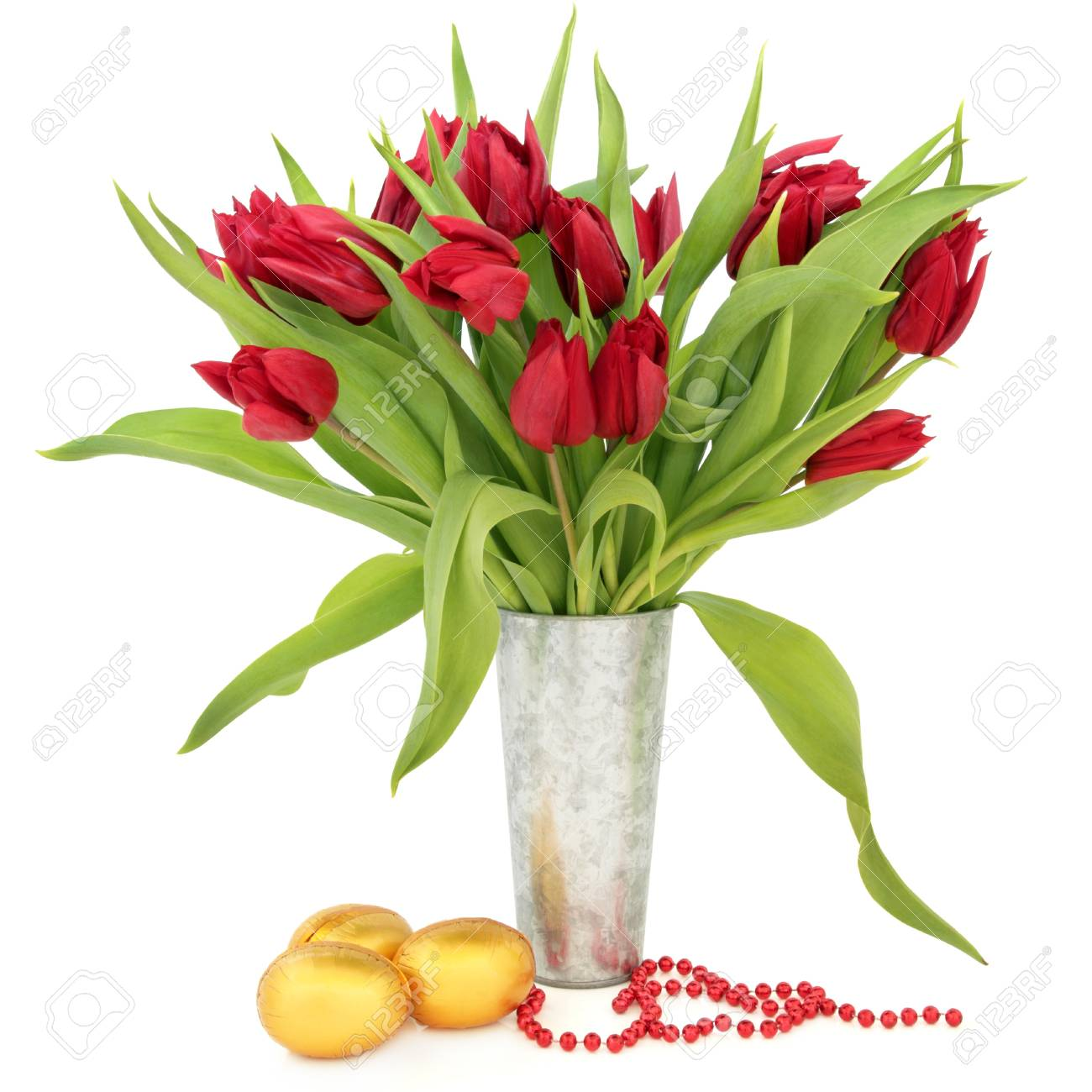 Tulip Flower Arrangement In A Metal Vase With Gold Easter Egg