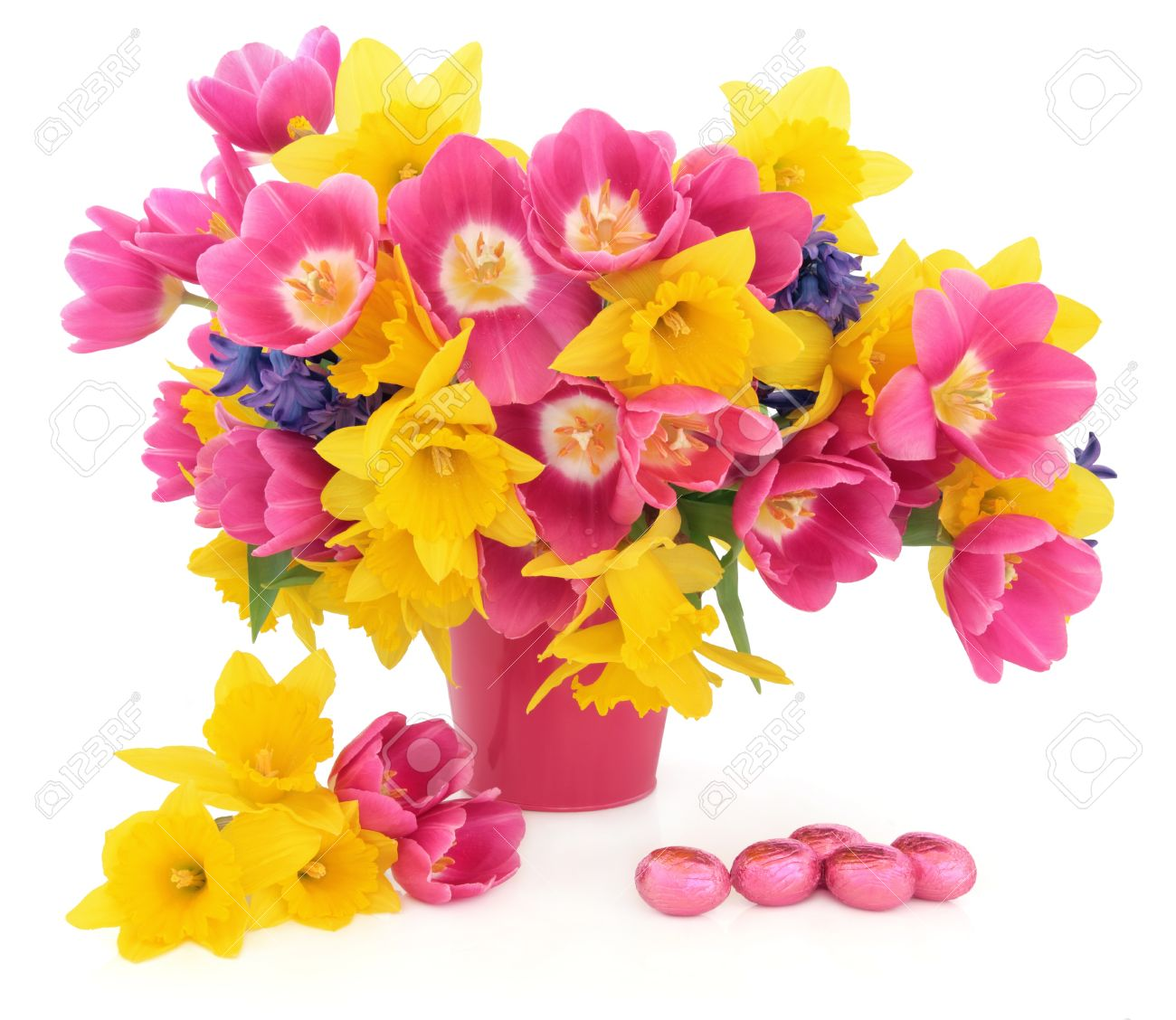 Tulip Daffodil And Hyacinth Flower Arrangement In A Pink Vase