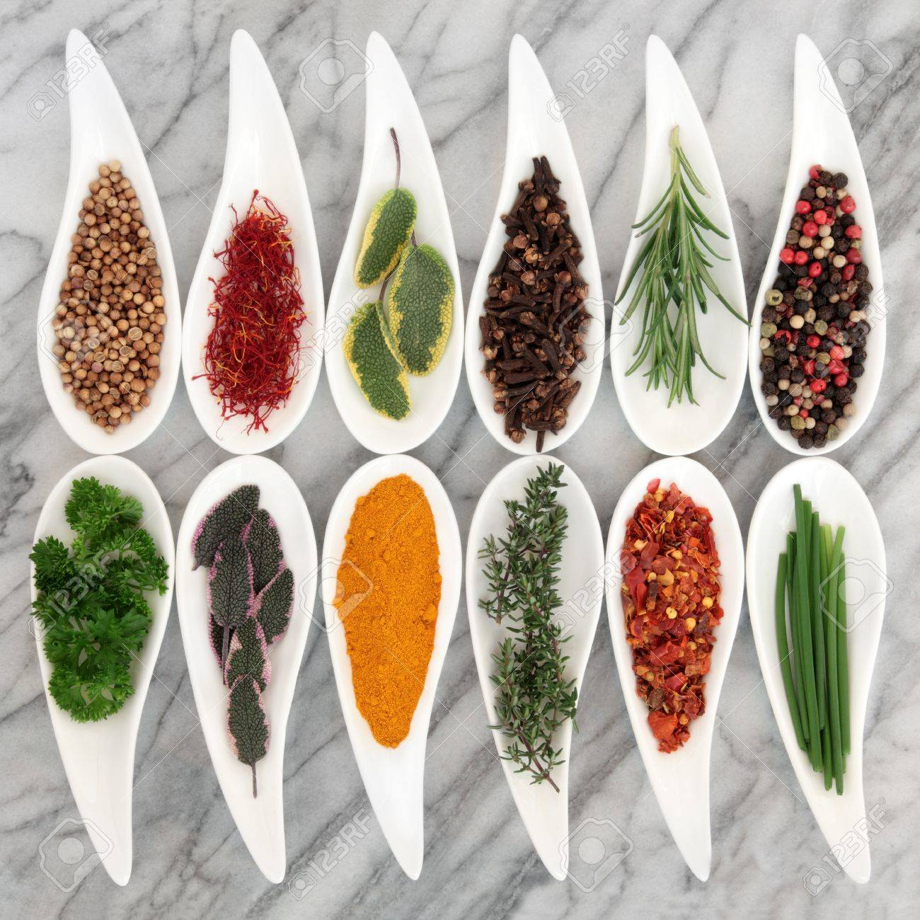 Spice and fresh herb selection in leaf shaped white porcelain dishes over marble background Stock Photo - 18867234
