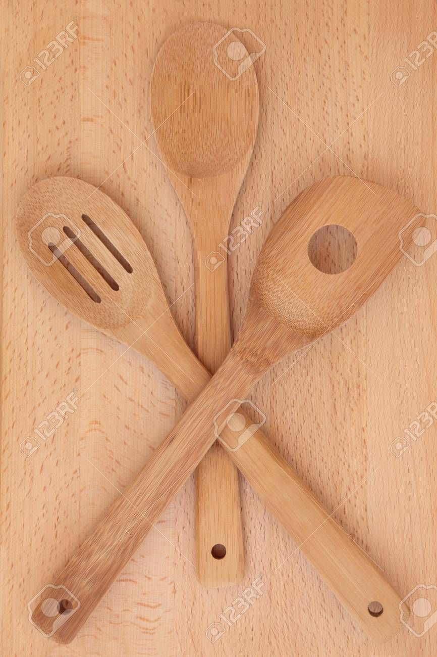 Beech wood kitchen utensil cooking set and board Stock Photo - 19021720