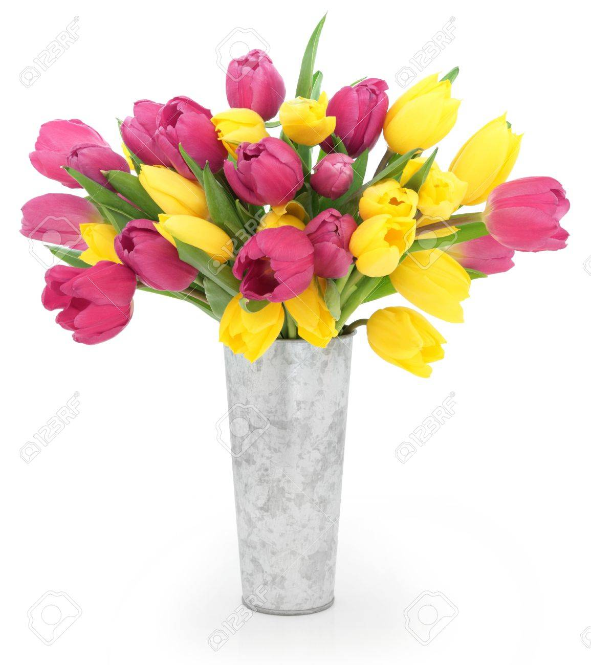 Yellow And Pink Tulip Flower Arrangement In A Distressed Aluminum