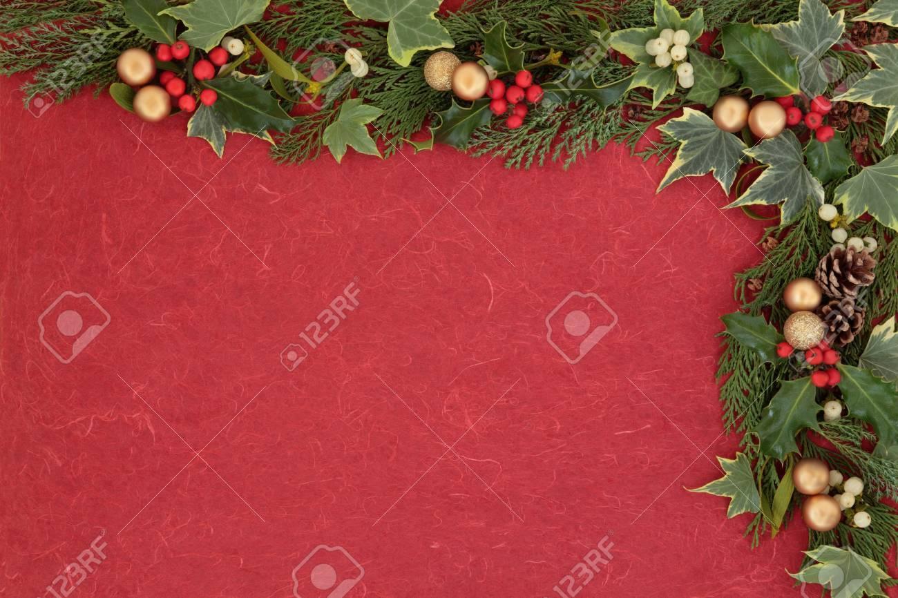 Christmas floral border stock photos freeimages com - Christmas Floral Border With Gold Bauble Decorations Holly Mistletoe Ivy Fir Leaf